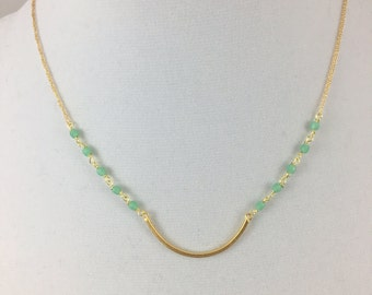 Sea Green Beaded Chain Necklace