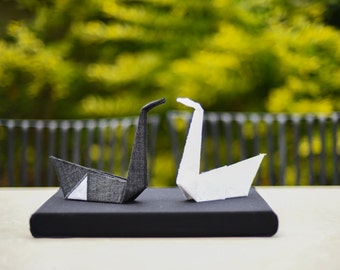 Black and white origami swans, fabric origami, wedding decor, groom and bride gift, origami swans, black & white art, wedding table decor