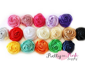 SMALL Satin TWISTED Rosettes...You Choose Quantity...Rolled Rosettes..Rolled Rosettes...Rosettes