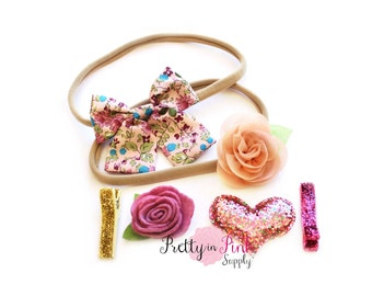 Sweetie Pie DIY Headband Kit #298- Clip and Headband DIY Kit- Baby Girl Headband- Shower Kit- Wedding Headband- Flower Girl