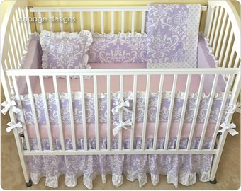 LILAC OZBORNE DAMASK 4-Pc Baby Crib Bedding Set - Includes Bumper Pads, Crib Skirt, Baby Blanket & Accent Pillow -- Girl Crib Bedding