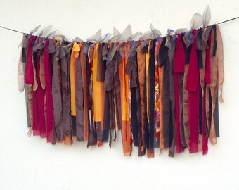 Rustic ribbon garland, fabric rag garland, brown rust orange 50 inch long backdrop prop, wedding decor, tent decor