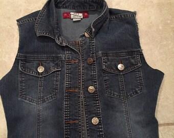 Vintage 90's YMI Cut Off Cropped Denim Vest S