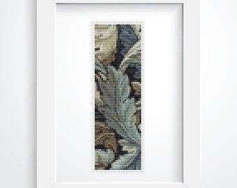Cross Stitch Pattern PDF Leaves by William Morris BOOKMARK Cross Stitch Chart, Floral Instant Download (BK32)