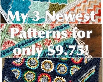 My 3 NEWEST crochet patterns for a discounted 9.75 USD - Added value sale - instant downloads