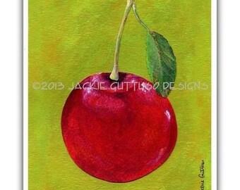 "Cherry art 8 x 10"" print, Kitchen art, Dining room art, Fruit art, Acrylic cherry painting print, Food art, Fruit collage art, Fruit print"