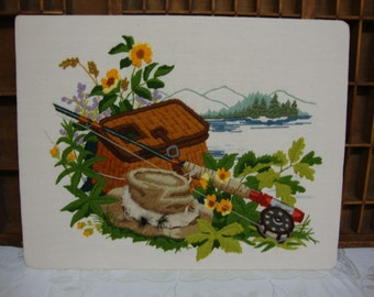 Embroidery Fishing Picture 14 x 18