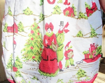 Vintage Linen Upcycled Noel Apron
