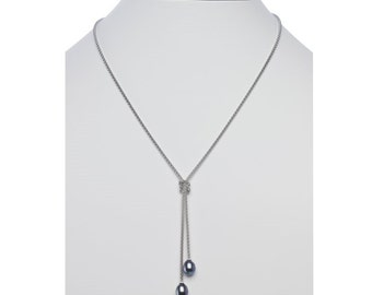 Sterling Silver Necklace w/Black Freshwater Pearl