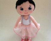 Felt Ballerina Tutu Tutu Doll, Handmade Doll, Pink Felt Doll