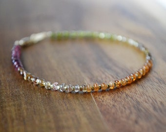 tundra sapphire bracelet with gold vermeil beads  ///  skinny stacking gemstone bracelet /// ombre sapphire