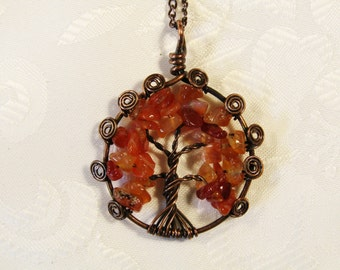 Carnelian Tree of Life Pendant, Wire wrapped