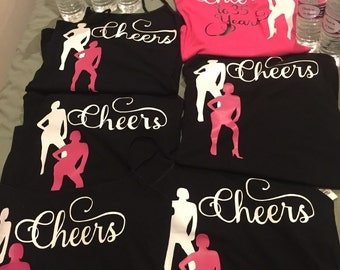 Personalized ladies tank top and water bottle work out set. Cheers to 35 years theme