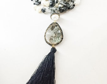 Rutilated Quartz and Freshwater Pearl Tassel Necklace