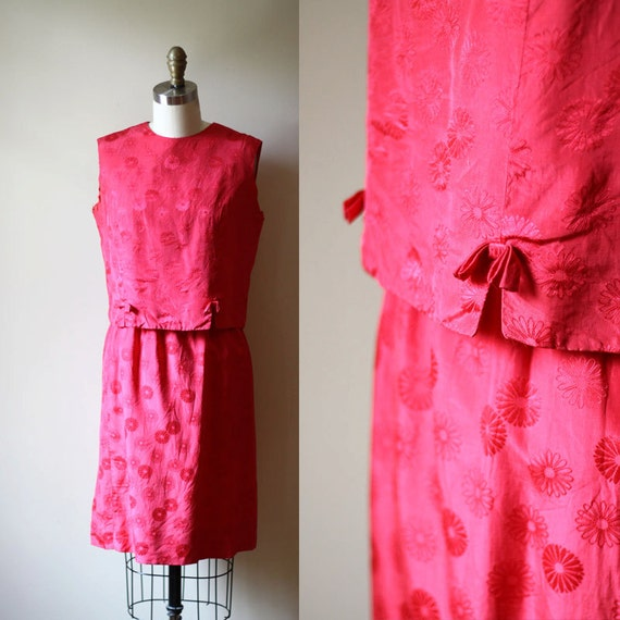 1960s two piece dress // pink mod dress // vintage dress