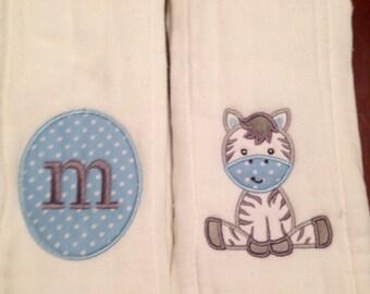 Set of 2 Burp Cloths with Zebra