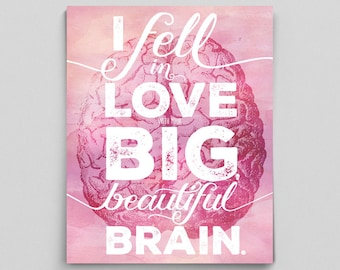 Gift for Girlfriends, Last Minute Gifts for Her, Printable Valentines Day Gifts, Girlfriend Gifts, Nerdy Anniversary Gift, Brain Poster