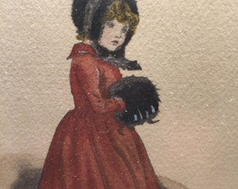 Original Small Painting Victorian Girl