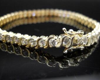 Eternity CZ Bracelet, Silver Bracelet, 7.25 Inch Bracelet, Sterling Bracelet, Gold Over Silver, 925 Bracelet, Tennis Bracelet, 925 CZ Tennis