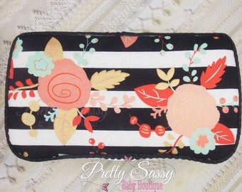 Baby Wipe Case * Floral  Gold Black & White Stripes  Wipe Case *   Travel Baby Wipe Case *  Baby Shower Gift *  Baby Wipe Clutch * Gift