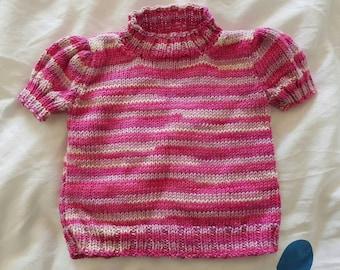 Short sleeved stripy girls jumper 3 - 6 months