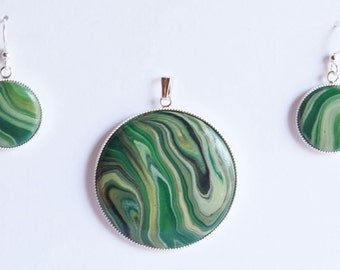 polymer clay faux stone earring and pendant set