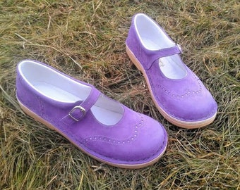 Handmade nubuck mary janes TEIDE in violet