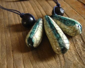 Necklace raku pottery