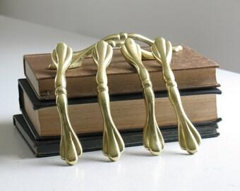 Vintage brass drawer pulls /  cabinet or furniture handles / scalloped ornate gold hollywood regency