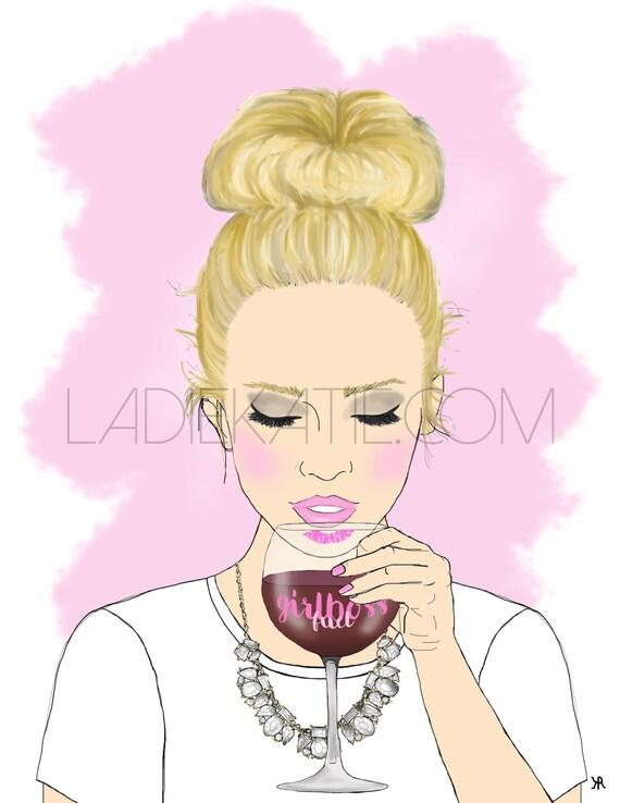 Print of original girl boss, wine lover illustration, Girl Boss Art, Bossy Babe Art, Wine Lover Art,  girl boss print, custom girlboss
