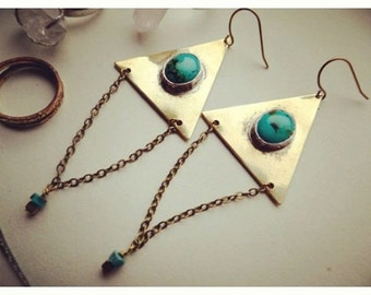 Triangle and Turquoise Earrings