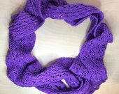 Hand knitted lacy scarf