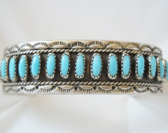 Zuni Petit Point Sterling Sleeping Beauty Turquoise Row Bracelet Cuff Signed TR