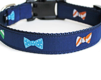 Bow Tie Dog Collar, Cute, Navy Blue, Boy Dog Collar, Reflective or Engraved Buckle, Small Dog Collar - Bow Ties