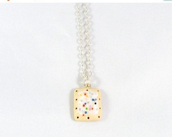 ON SALE Poptart Charm Necklace, Silver Plated Necklace, Cute, Kitsch, Kawaii :D