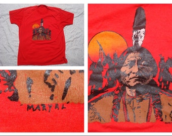 Vintage Retro Men's T-shirt Indian Chief Maryal Geronimo Red Tshirt Silk Screen Short Sleeve Large Made in the USA