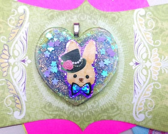 Bunny Charm, Rabbit Pendant, Heart Pendant, Kawaii Bunny Charm, Kawaii Resin, Bunny Jewelry, Resin Pendant, Kawaii Bunny, Purple Bunny heart
