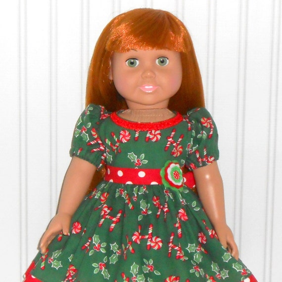 Green christmas dress for 18 inch girl dolls with candy canes and