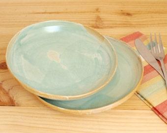 Ceramic dessert plate Stoneware plate Aquamarine matt glaze Turquoise and brown - Ready to ship