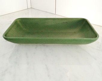 Mid Century Modern Hyalyn Pottery Dish Dark Green Hyalyn Dish
