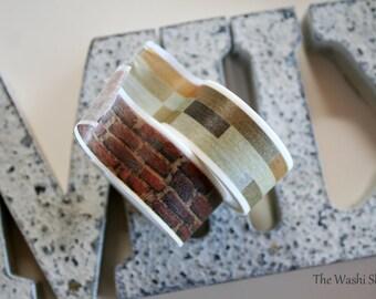 Brick/Wood Pattern Washi Tape(Choose One Roll)