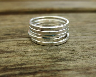 Hammered Stacking Rings, Set of Five, Sterling Silver, Modern, Handmade, Unique Jewelry, Designer Jewellery, delicate, minimalist, natural