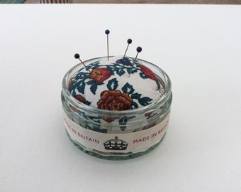 Vintage Glass Pin Cushion, Floral fabric, pin storage, Sewing Room Gift, Made in Britain ribbon