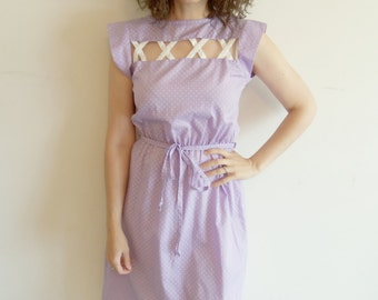 Sweet Vintage Light Purple and White Polka Dot Cut Out Day Dress