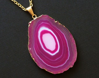 Fuchsia Agate Slice Necklace, Gold Agate Statement Necklace