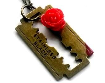 Razor Blade Necklace Rose Razorblade Blood Drop  Pendant Handmade Gift