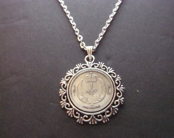Libya 1 Piastre Coin Necklace Libya Piastre Coin Pendant in Pendant Tray-