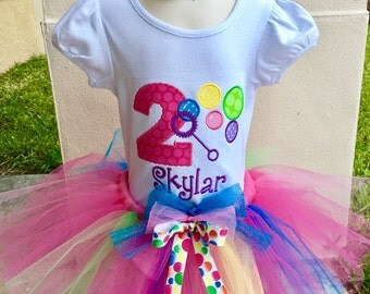 FUN COLORFUL BUBBLES-Tutu Set with Personalized Embroidered Bodysuit or T-shirt