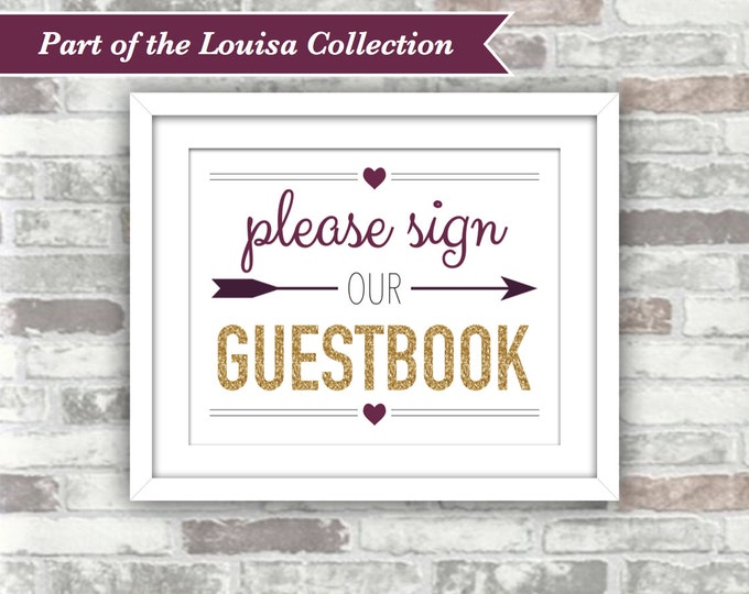 INSTANT DOWNLOAD - LOUISA Collection - Printable Wedding Guestbook Sign - Digital File - Gold Glitter Effect Plum Burgundy Fall Autumn 8x10