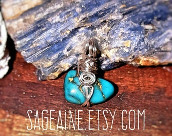 SageAine: Turquoise Nugget Amulet , Natural Genuine Sacred Protective Magick, Reiki Charged, Crystal Healing